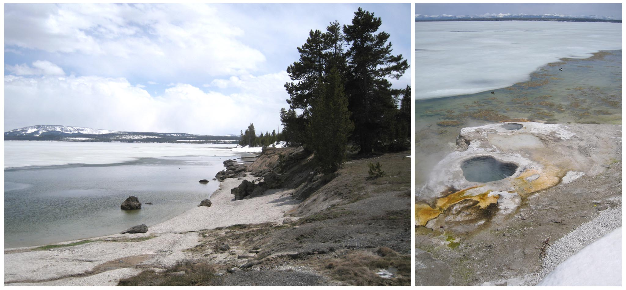 Yellowstone Lake - West Thumb - Geyser Basin // Thermal features keep the ice away at Yellowstone Lake