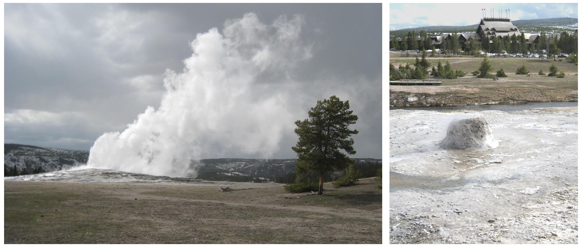 USA - Wyoming - Yellowstone National Park  //  Left:  Storm clouds highlight the pure white steam of Old Faithful Geyser  //  Right:  Bee Hive Geyser and the Old Faithful Inn