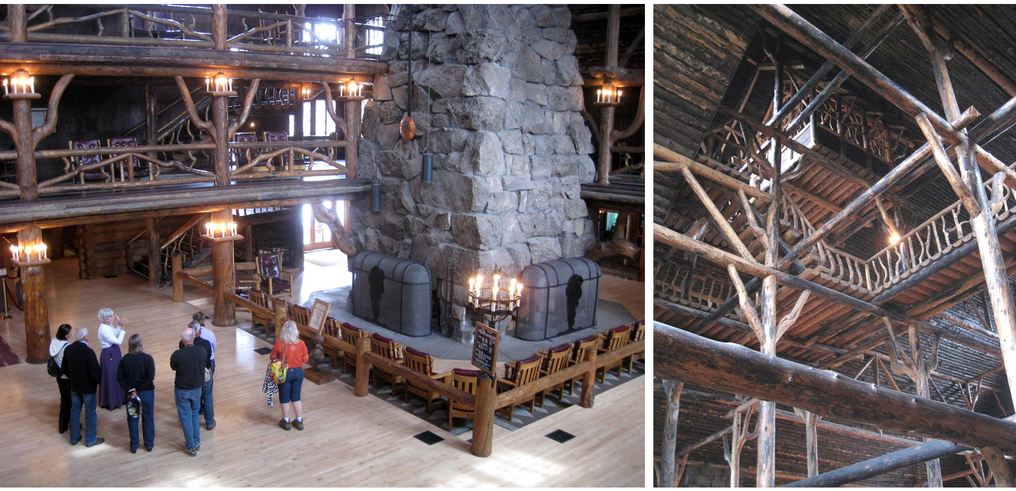 USA - Wyoming - Yellowstone - Old Faithful Inn  //  Left:  Hotel tour embarks from the lobby  //  Right:  Unsurpassed log construction